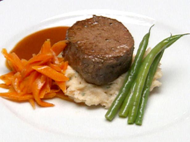Filet Mignon over Lobster Boursin Mashed Potatoes with a Merlot Reduction Recipe | Robert Irvine ...
