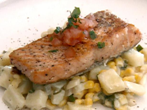 Seared Salmon over Risotto Style Potatoes and Corn