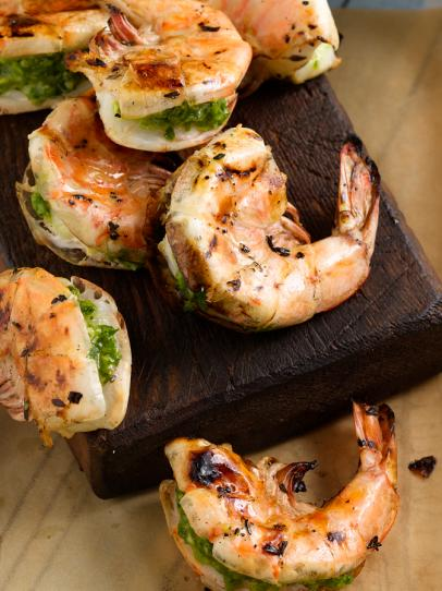 Jumbo Shrimp Stuffed with Cilantro and Chiles