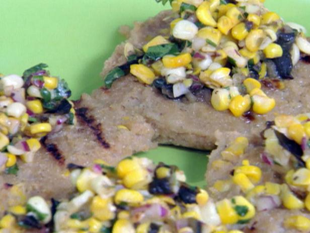 Grilled Grit Cakes with Grilled Corn and Grilled Corn-Green Chile Relish