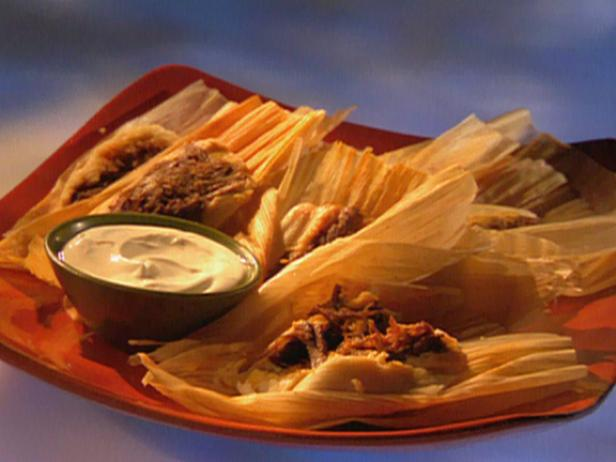 Red Chili Brisket Tamales with Cilantro Sour Cream