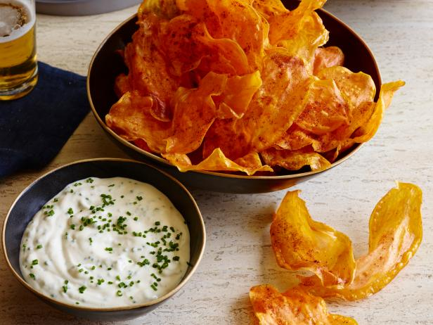 Sweet Potato Chips Dusted with Chili Powder