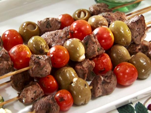 Lamb and Olive Skewers with Cucumber Salad
