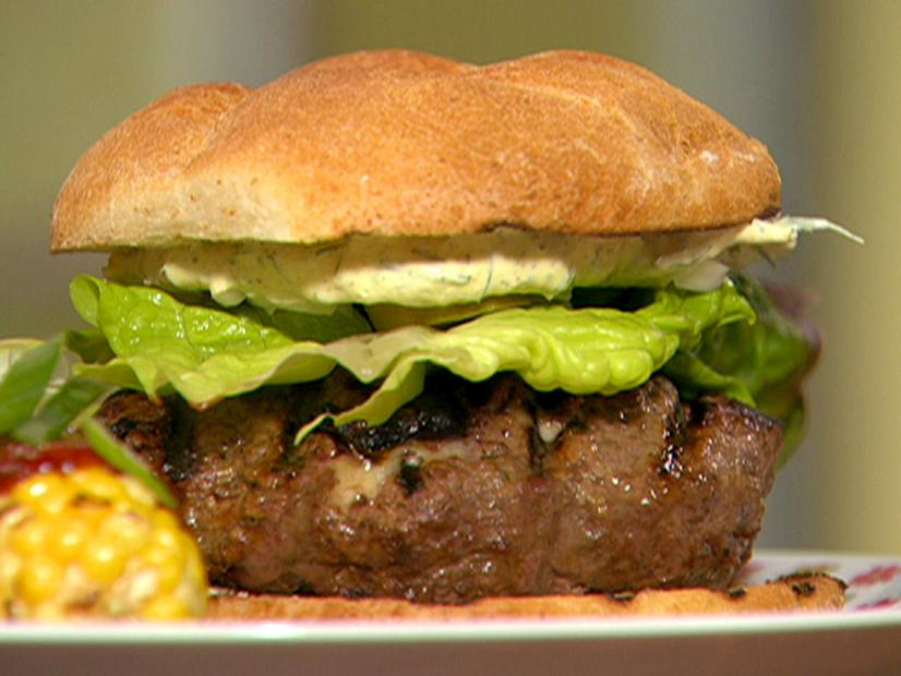 Smoky Beer Burgers With Creamy Mustard Sauce Recipe Rachael Ray Food Network