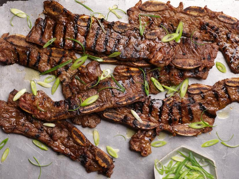 Kalbi korean barbequed beef short ribs recipe food network - Ribs on the grill recipe ...