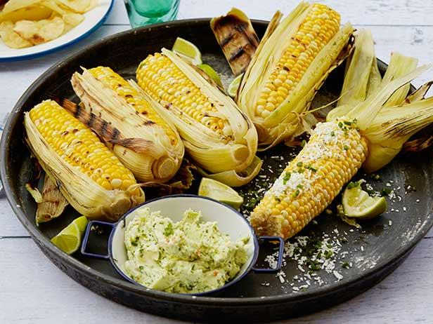 Grilled Corn on the Cob with Garlic Butter, Fresh Lime and Cotija Cheese