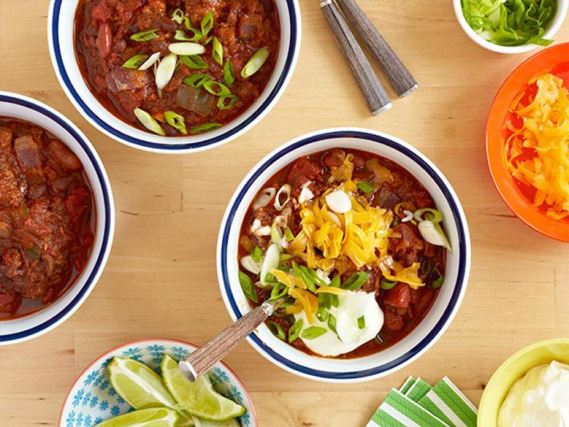 Pats Famous Beef And Pork Chili Recipe The Neelys Food Network