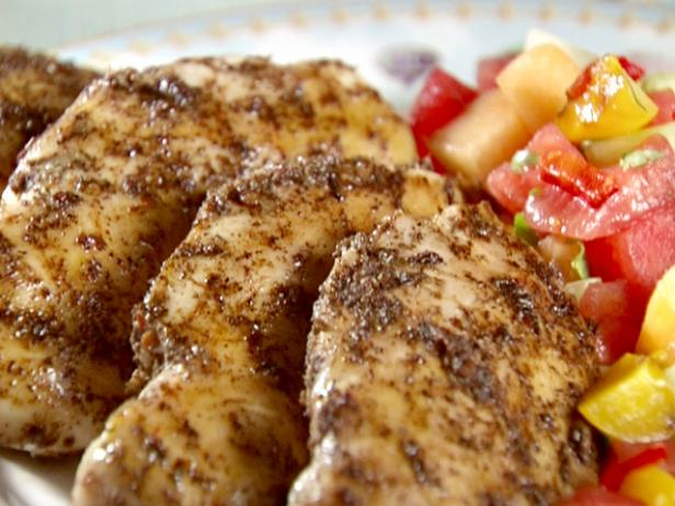 Chicken with Peach and Melon Salsa