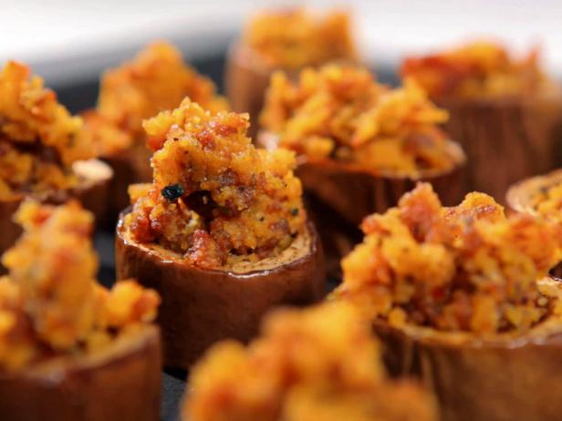 Eggplant Cups with Cornbread Stuffing