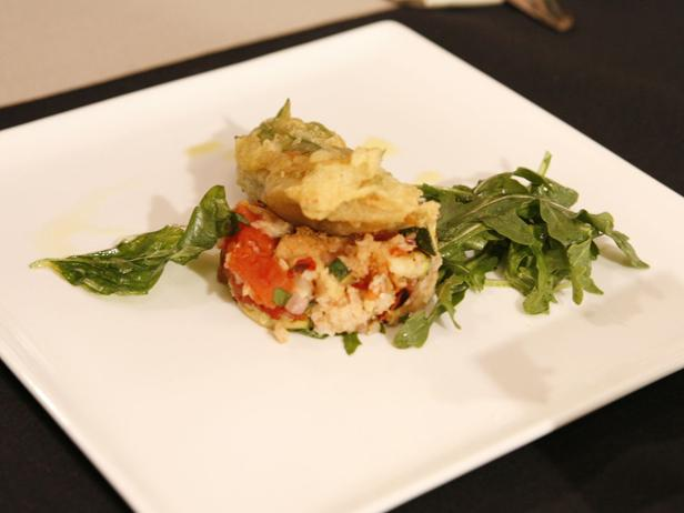 Fried Zucchini Blossoms with Grilled Vegetable Panzanella and Baby Arugula Salad