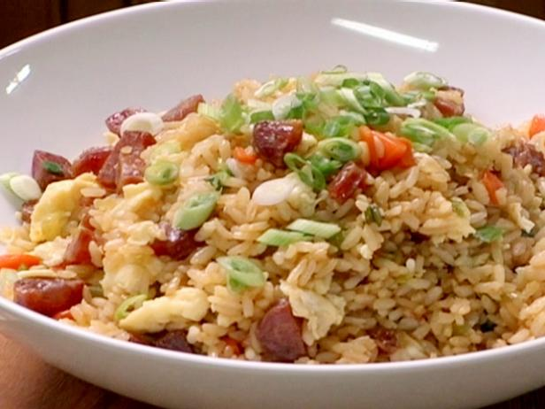Fried rice with chinese sausage recipe brian boitano food network fried rice with chinese sausage forumfinder Images
