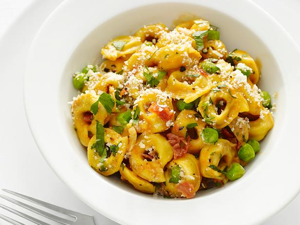 tortellini with peas and prosciutto recipe food network kitchen
