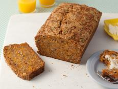 For a low-fat treat, bake a healthy loaf of Alton Brown's Pumpkin Bread recipe, made with fresh shredded pumpkin, pumpkin seeds and cinnamon.