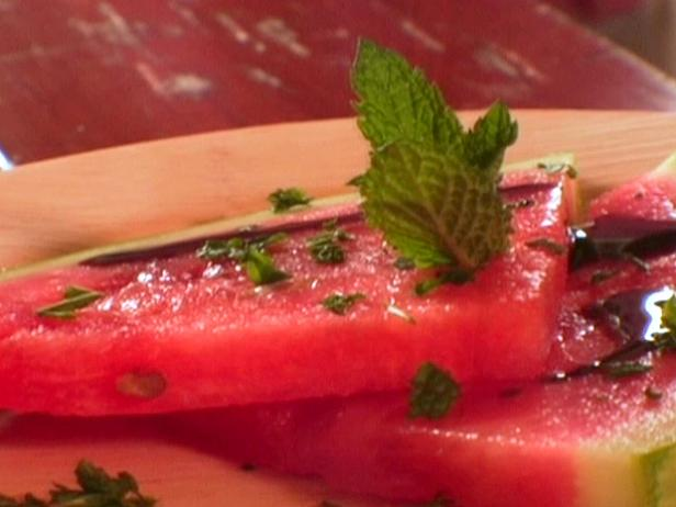 Watermelon with Sweet Balsamic Syrup and Fresh Mint