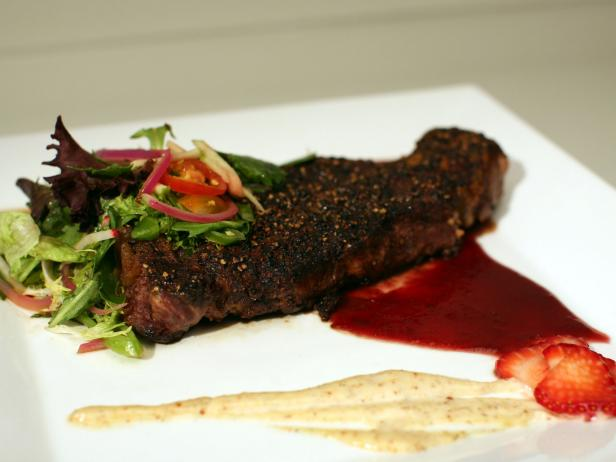 Pepper-crusted Steak with Strawberry Zinfandel Sauce and Orange-Mustard Aioli