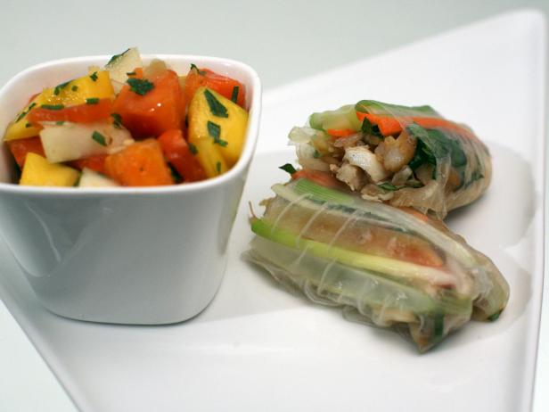 Yellow Chile Spring Rolls and Tropical Fruit Salad