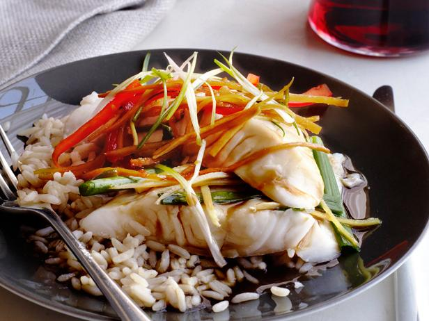 Asian steamed fish recipe food network kitchen food network asian steamed fish forumfinder