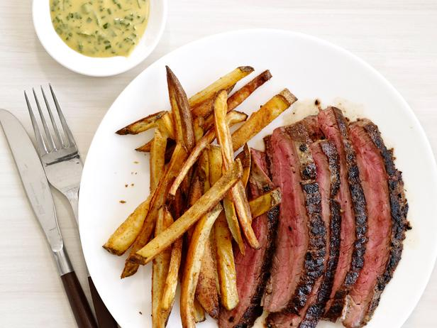 steak frites with herb mustard recipe food network kitchen food network. Black Bedroom Furniture Sets. Home Design Ideas