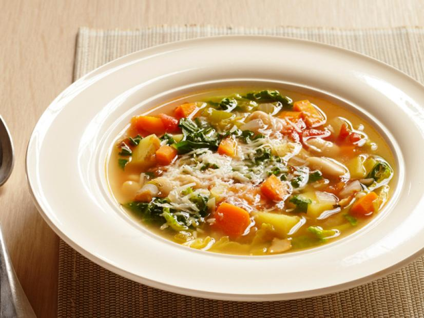 Minestrone With Parmigiano Reggiano Recipe Bobby Flay Food Network