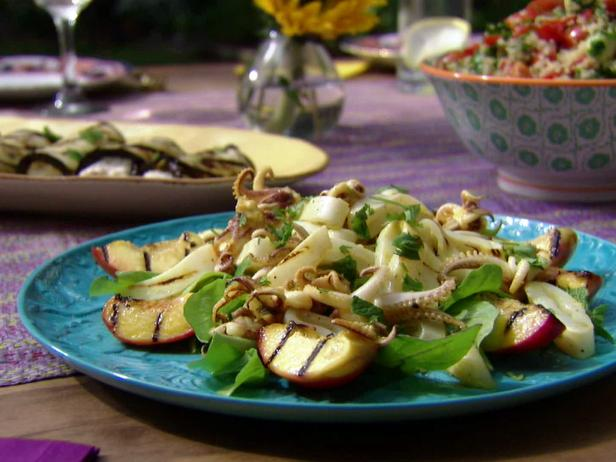 Garlicky Grilled Calamari and Nectarine salad