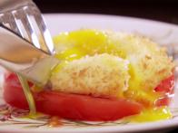 Deep Fried Poached Egg Over Heirloom Tomato