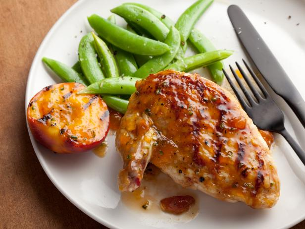 Grilled Chicken Breasts with Spicy Peach Glaze