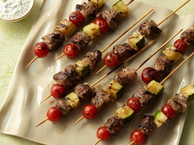 Grilled Lamb Kebabs with Tomatoes, Zucchini, and Yogurt Sauce