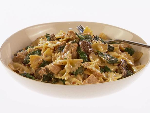 Farfalle with Chicken, Porcini Mushroom and Swiss Chard