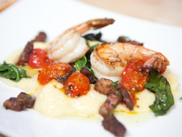 Deconstructed Roasted Tomato Grits and Shrimp, with Sauteed Baby Mustard Greens and Bacon
