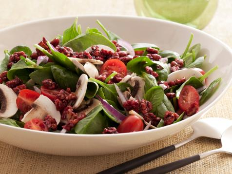 Super Food Spinach Salad with Pomegranate-Glazed Walnuts