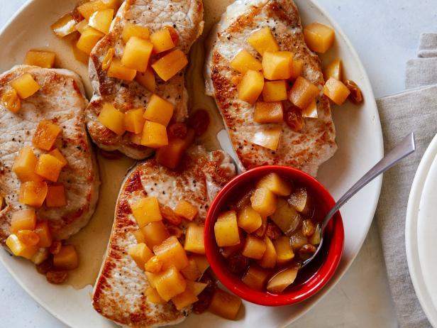 Pork Chops With Golden Apple Sauce Recipe Rachael Ray