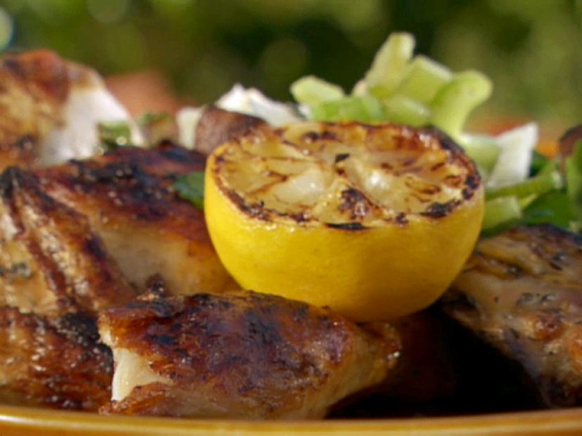 Butterflied Chicken With Thyme Lemon And Garlic Recipe Bobby Flay
