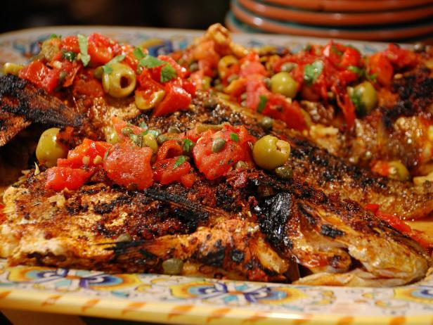Whole Snapper with Grilled Vera Cruz Salsa