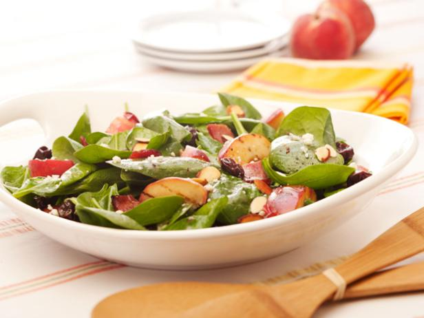 Spinach Cherry Almond Salad with Bacon and Peaches