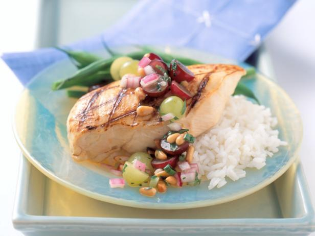Dijon Chicken with Grape and Pine Nut Salsa