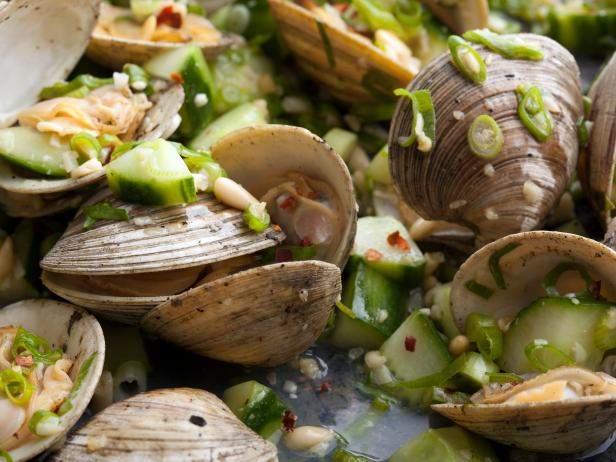 Grilled Clams with Scallions and Cucumber