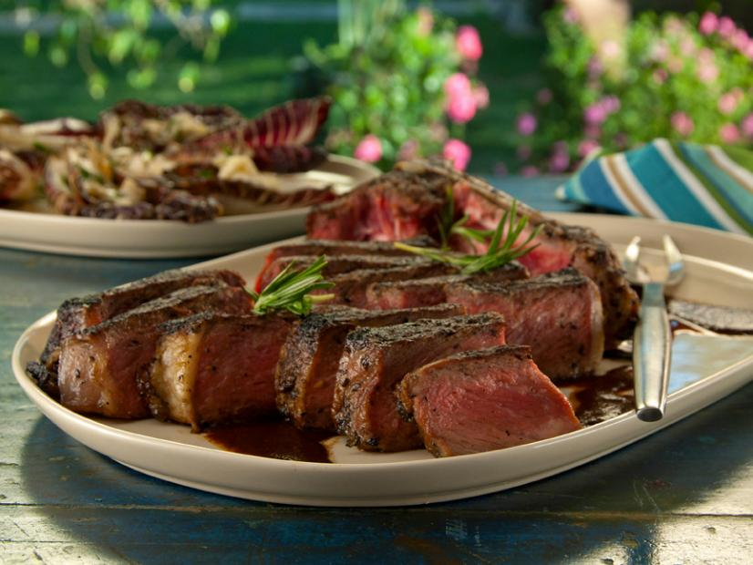 Bistecca Alla Florentine With Balsamic Rosemary Steak Sauce And Grilled Treviso With Gorgonzola Recipe Bobby Flay Food Network