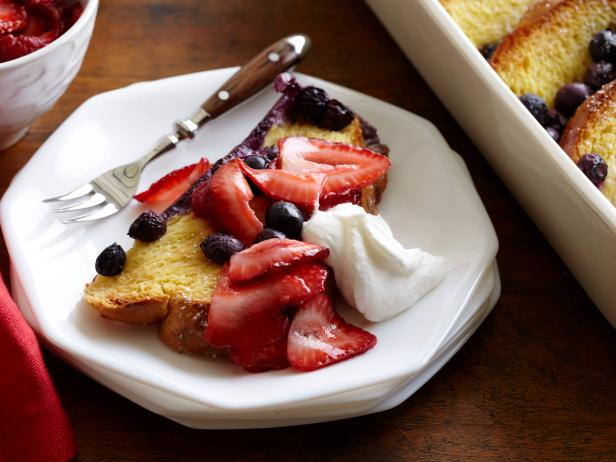 Blueberry French Toast Casserole with Whipped Cream and Strawber