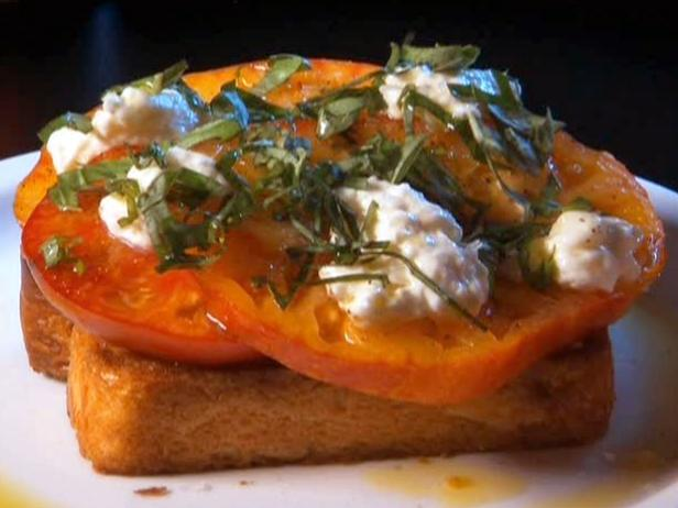 Texas Tomato Toast with Roasted Garlic Spread and Homemade Ricotta