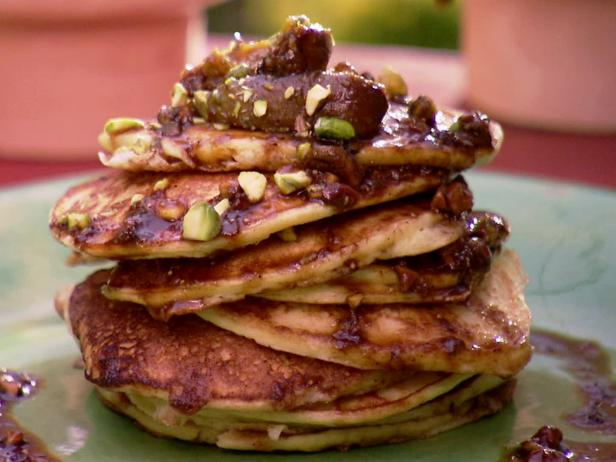 Orange Ricotta Pancakes with Caramelized Fig and Pistachio Compote