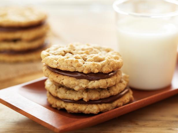 Chewy Peanut Butter and Chocolate Hazelnut Sandwich Cookies