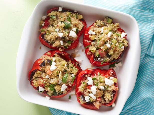 Quinoa and vegetable stuffed peppers recipe rachael ray food network quinoa and vegetable stuffed peppers forumfinder Images