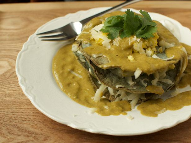 Scrambled Eggs Chiliquiles With Roasted Tomatillo Sauce