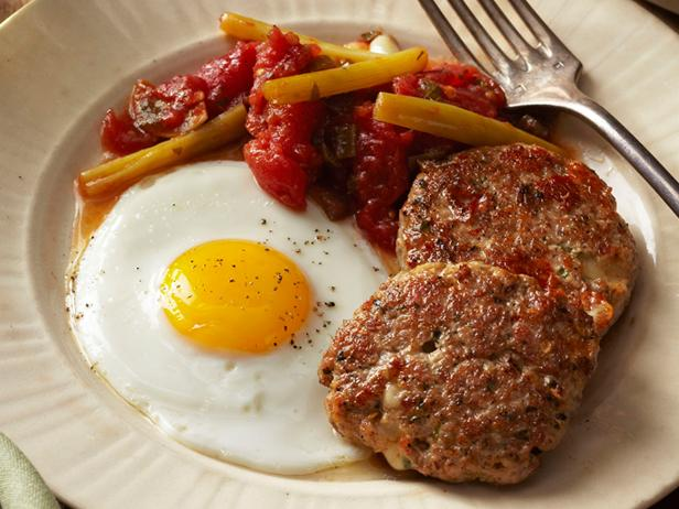 Sausage-Provolone Patties With Fried Eggs Recipe | Food ...