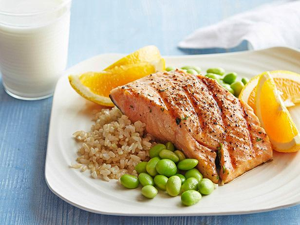 Honey Soy Grilled Salmon with Edamame and Brown Rice