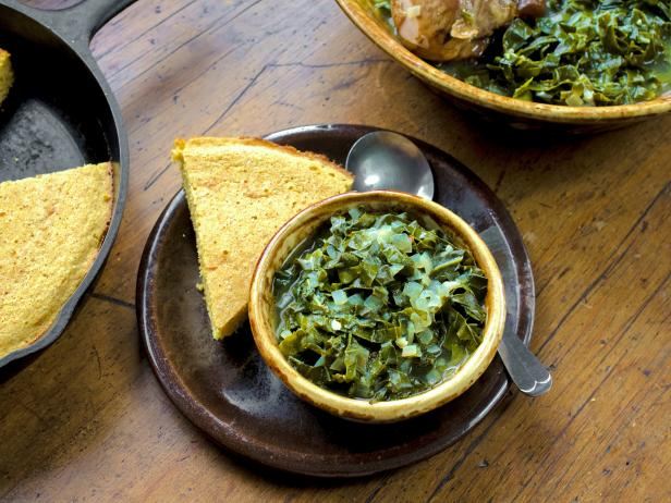 Collard Greens with Smoked Turkey and Whole Grain Buttermilk Cornbread