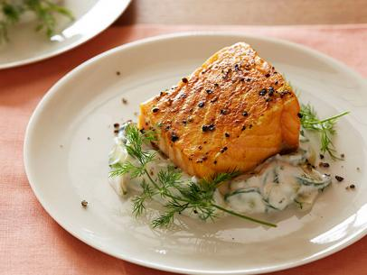 Pan fried salmon recipe food network kitchen food network slow roasted salmon with cucumber dill salad recipe courtesy of food network kitchen forumfinder Gallery
