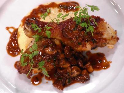 Chicken marsala recipe tyler florence food network chicken chasseur hunter style chicken with creamy polenta with gruyere and parmesan forumfinder Choice Image