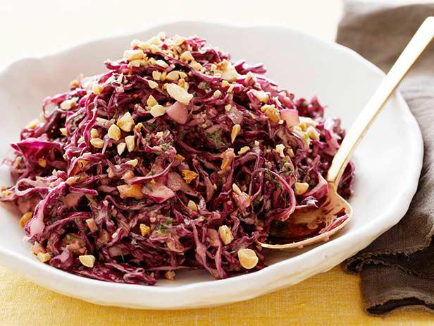 Asian Red Cabbage Slaw with Peanuts