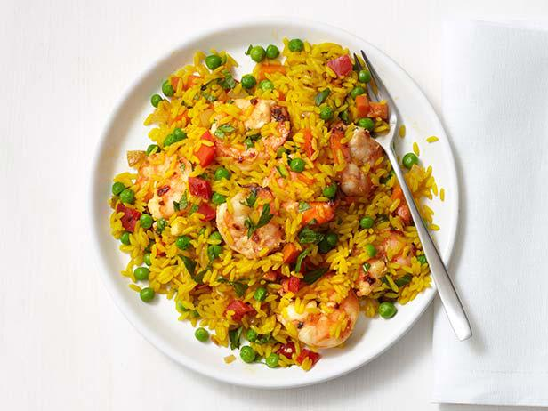Spanish shrimp and rice recipe food network kitchen food network spanish shrimp and rice forumfinder Images